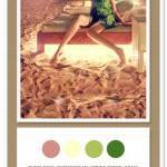 Color Card 004: Dusty Rose, Buttercream, Spring Green and Grass