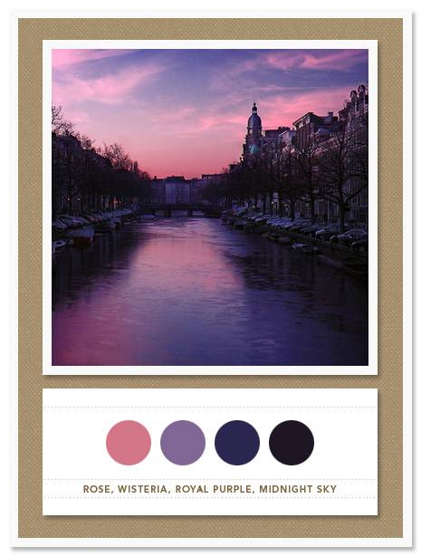Color Card 011: Rose, Wisteria, Royal Purple, Midnight Sky