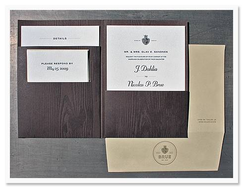 studio1 Invitation of the Week: Wood Grain and Crest Printed by Studio on Fire