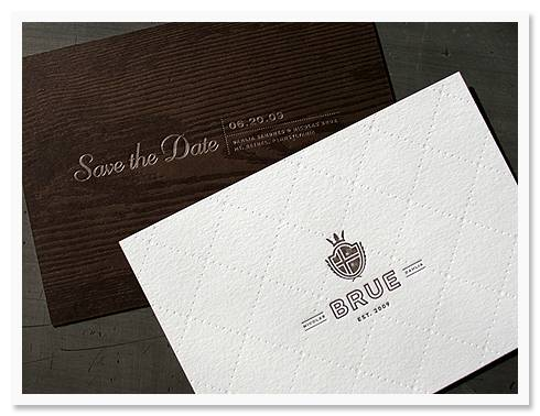 studio3 Invitation of the Week: Wood Grain and Crest Printed by Studio on Fire