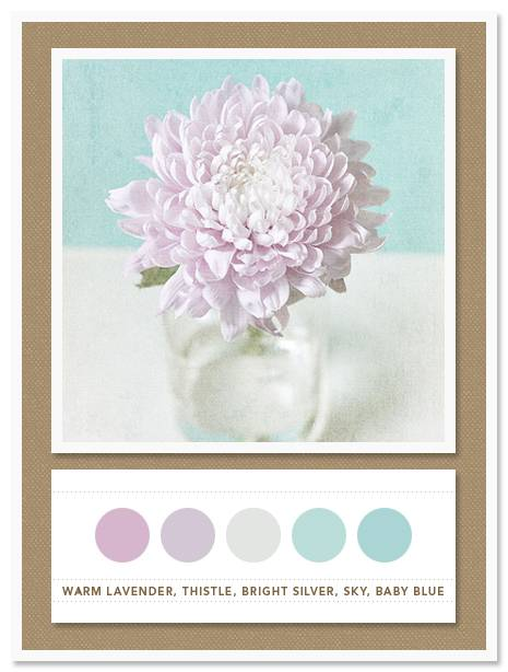 Color Card 033: Warm Lavender, Thistle, Bright Silver, Sky, Baby Blue