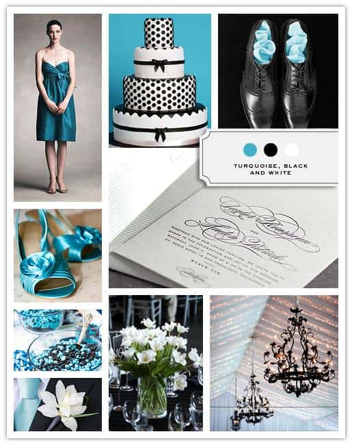 Turquoise, Black and White
