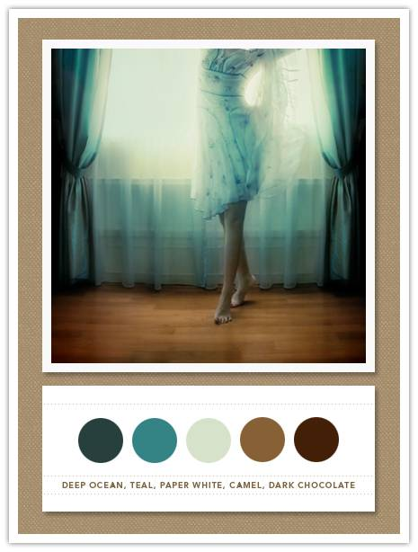 Color Card 041: Deep Ocean, Teal, Paper White, Camel, Dark Chocolate for Lucky Me!