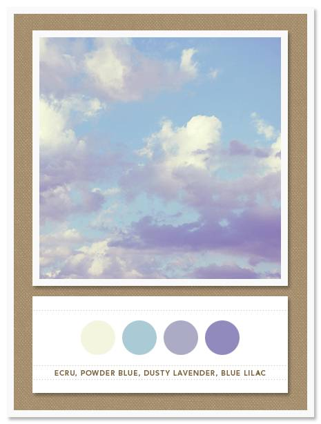 Color Card 039: Ecru, Powder Blue, Dusty Lavender, Blue Lilac