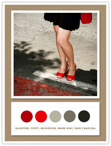 Color Card 040: Valentine, Poppy, Mushroom, Warm Gray, Dark Charcoal