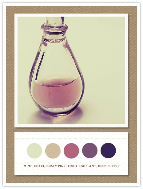 042 Color Card 042: Mint, Khaki, Dusty Pink, Light Eggplant, Deep Purple