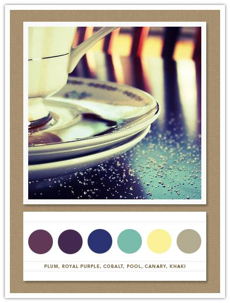 Color Card 044: Plum, Royal Purple, Cobalt, Pool, Canary, Khaki