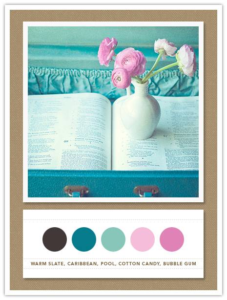 048 Color Card 048: Warm Slate, Caribbean, Pool, Cotton Candy, Bubble Gum