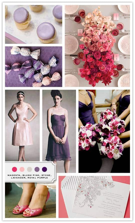 Magenta, Blush Pink, Stone, Lavender, Royal Purple
