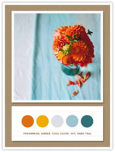 Color Card 054: Persimmon, Amber, Cool Silver, Sky, Dark Teal