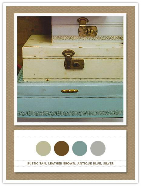 Color Card 055: Rustic Tan, Leather Brown, Antique Blue, Silver