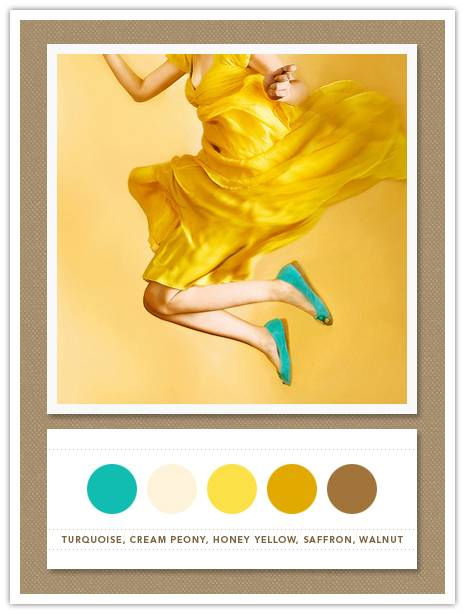 Color Card 056: Turquoise, Cream Peony, Honey Yellow, Saffron, Walnut