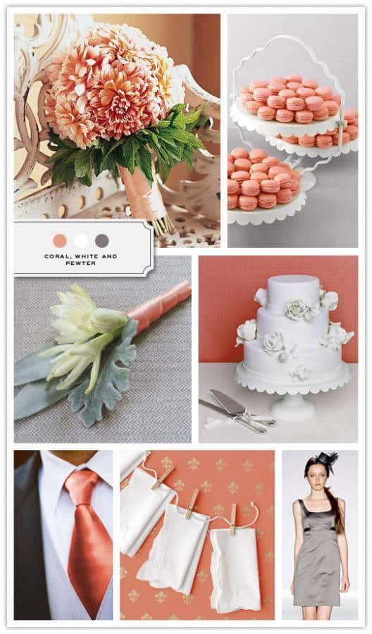 Coral White and Pewter Color Palette Credits Bouquet Brides