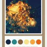 Color Card 061: Navy, Pool, Walnut, Lemon, Citrus, Red Orange