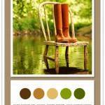 Color Card 078: Dark Chocolate, Ochre, Sandy Brown, Leaf, Forest Green