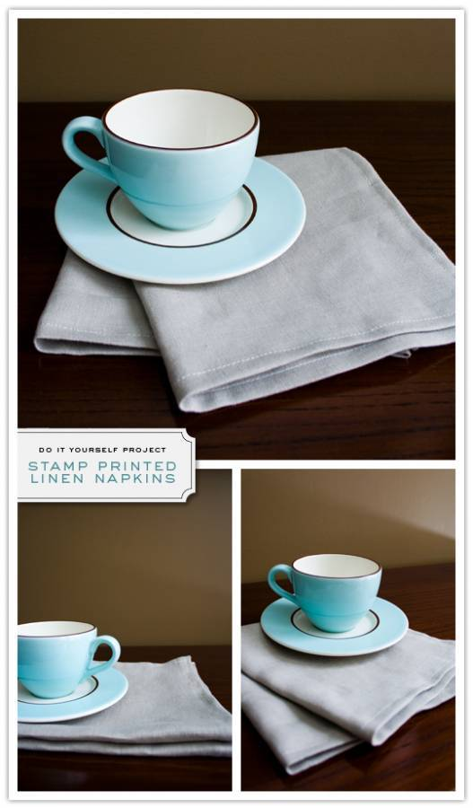 napkins Do It Yourself Project: Stamp Printed Linen Napkins