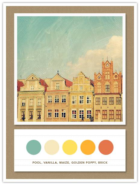 089 Color Card 089: Pool, Vanilla, Maize, Golden Poppy, Brick