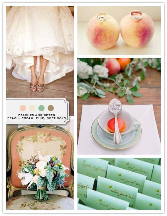 peaches Color Palette: Peach, Cream, Pine, Soft Gold