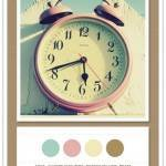 Color Card 095: Aqua, Shabby Chic Pink, Butter Yellow, Brass