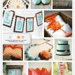 Color Palette: Robin's Egg Blue, White, Tangerine, Coral