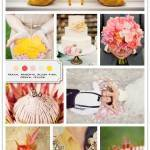 Color Palette: Peach, Magenta, Blush Pink, Cream, Yellow