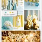 Color Palette: Pool, White, Marigold Yellow, Antique Gold