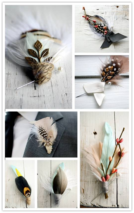 Feather Your Groom: Gorgeous Boutonnieres from Pomp & Plumage