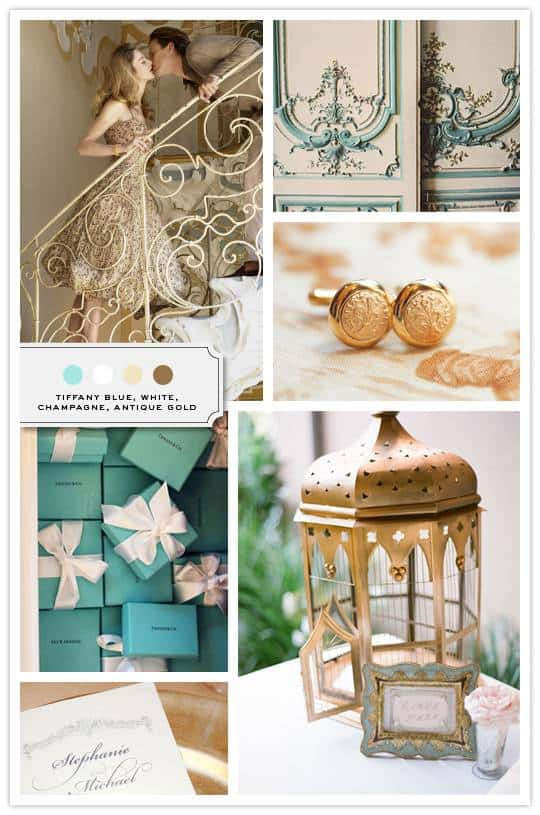 Gold and Tiffany blue sets the tone for this timeless classic inspiration