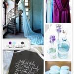 Color Palette: Rich Purple, Sky Blue, White, Charcoal