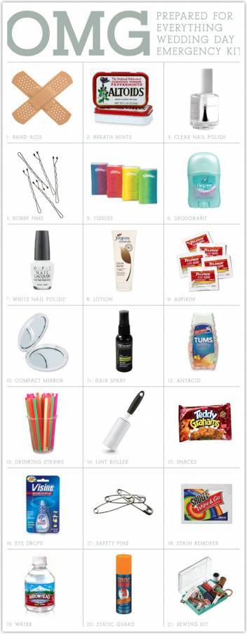 wedding day emergency kit1 Wedding 101: Emergency Kit