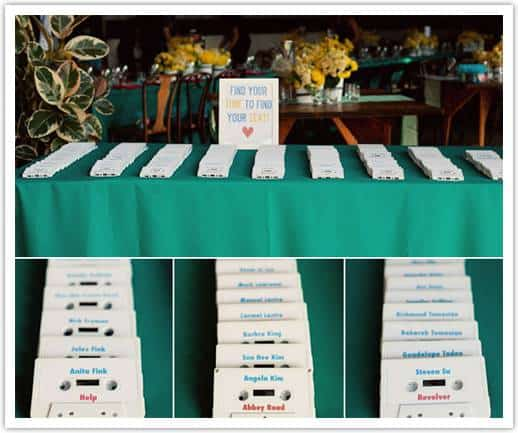 beatles theme wedding 14 Fun Escort Card Ideas