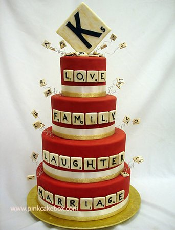 Scabble Theme Wedding Cake