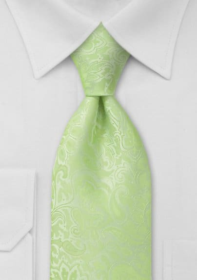 Light Pistachio Green Paisley Tie