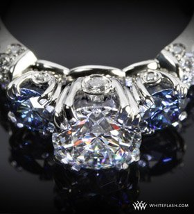 White Flash Diamond and Sapphire Ring