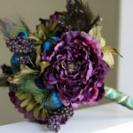 Peacock Theme Silk Flower Bouquet