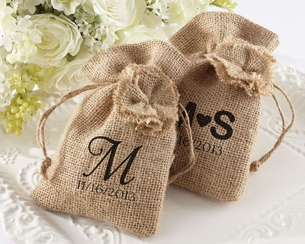 """Rustic Renaissance"" Burlap Favor Bag with Drawstring Tie - Available Personalized"