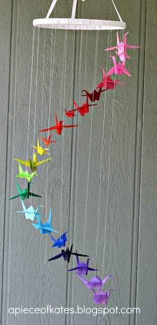 Origami Crane Baby Mobile Patterned Whimsy | Etsy | 640x310