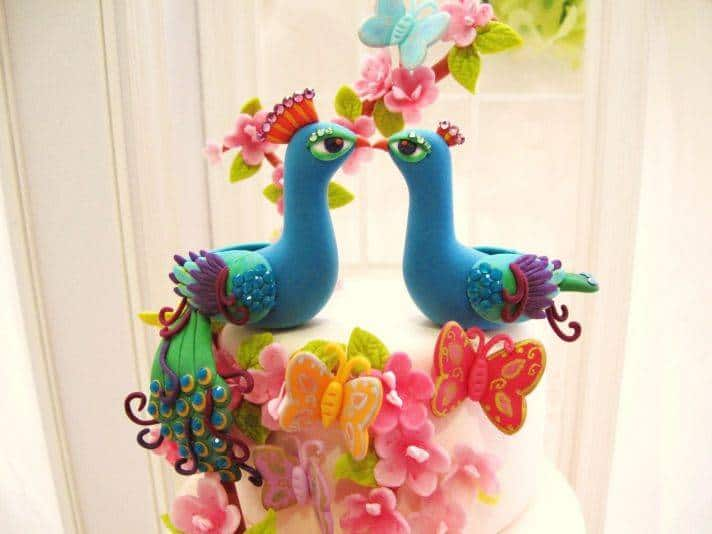 bright peacock wedding cake toppers  full Great Alternatives for the Traditional Cake Topper