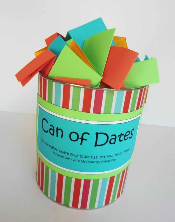 Can of Dates for Wedding Shower