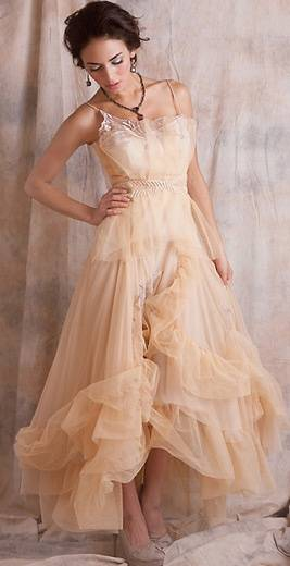 Vintage Peach Wedding Dress