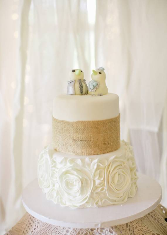 Rustic Bird-Topped Wedding Cake
