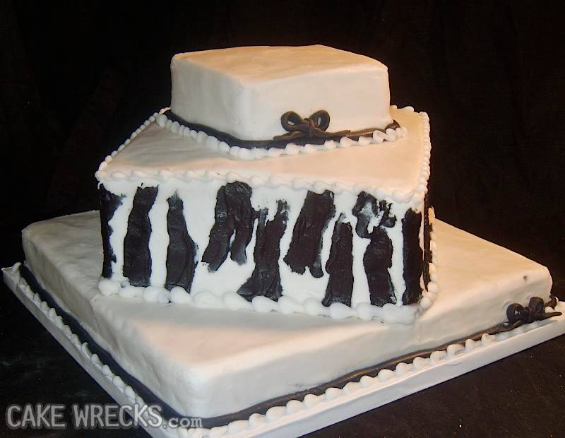 Failed Zebra Stripe Wedding Cake