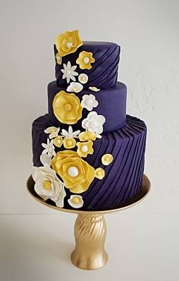 Navy, Yellow, and White Wedding Cake