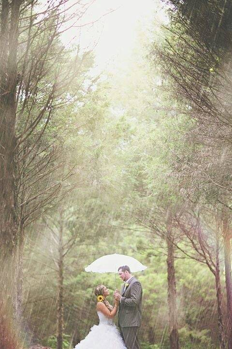 Bride and Groom in Rain with an Umbrella