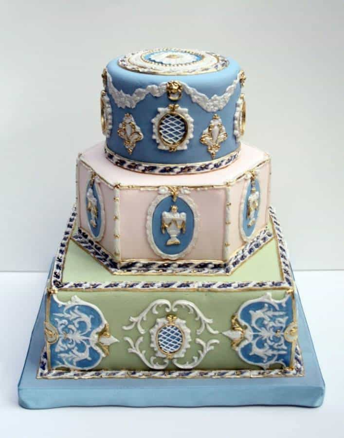 Vintage Blue, Green, Pink, White and Gold Wedding Cake