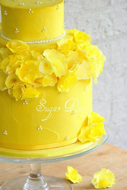 Canary Yellow Wedding Cake