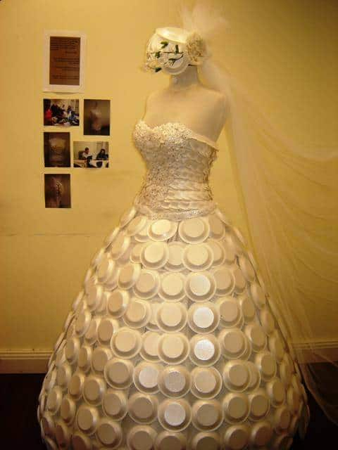 Styrofoam Bowl Wedding Dress