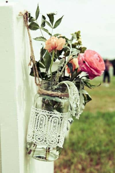 Lace Wrapped Vases