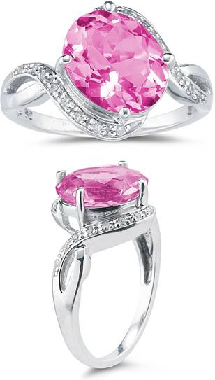 3.10 Carat Pink Topaz and Diamond Ring