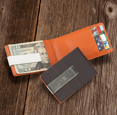 Groomstand Personalized Modern Leather Wallet and Money Clip